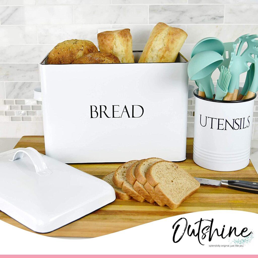 vintage metal bread box
